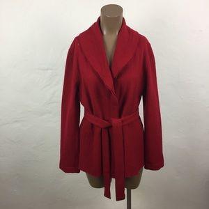 CAbi Red MERINO WOOL Wrap RUFFLE Sweater JACKET  M